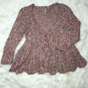 Free People Multi Color Flare Cardigan Sweater